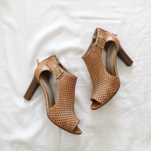 Tan Cutout Heeled Sandals